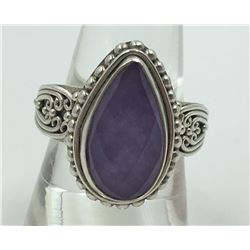 STERLING SILVER RING WITH LAVENDER CHALEDONY..