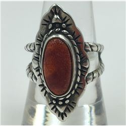 STERLING SILVER RING WITH ORANGE STONE