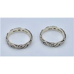 LOT OF TWO STERLING SILVER SCROLL DESIGN BANDS