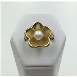 14KY GOLD RING  CULTURED PEARL, SIZE 9 1/2