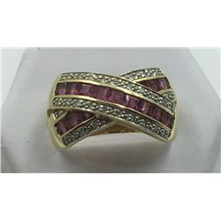 14K Y GOLD RUBY & DIAMOND RING, SIZE 9 1/2