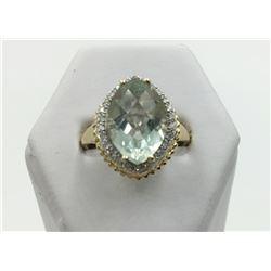 14K YG CHECKERBOARD CUT AQUAMARINE/DIAMOND RING
