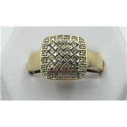 14K YG DIAMOND RING, SIZE 9 1/2