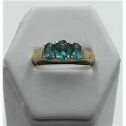 14K Y GOLD APATITE RING WITH DIAMOND ACCENTS