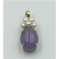 14K Y GOLD LAVENDER CHALCEDONY PENDANT
