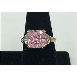 14K Y GOLD PINK & WHITE CZ'S RING