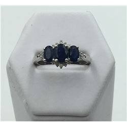 14K WHITE GOLD SAPPHIRE & DIAMOND RING,