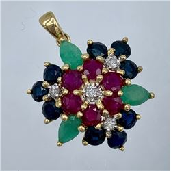 14K YELLOW GOLD PENDANT WITH GEMSTONES