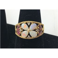 14K Y GOLD OPAL FLOWER RING WITH DIAMOND ACCENTS