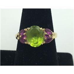 14K Y GOLD RING WITH PERIDOT & AMETHYST