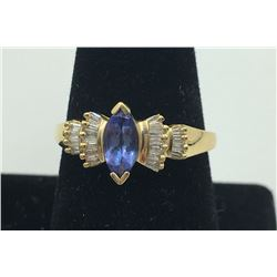 14K Y GOLD SAPPHIRE & DIAMOND RING, SIZE 9 3/4