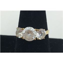 14K Y GOLD RING, CZ'S SIZE 9 1/2