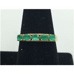 14 K Y GOLD EMERALD RING, SIZE 9 1/2