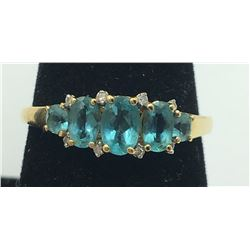 14K Y GOLD RING BLUE/GREEN STONES