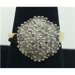 14K Y GOLD DIAMOND CLUSTER RING