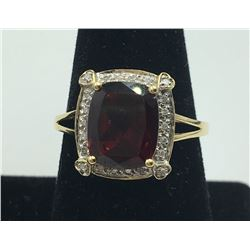 14K Y GOLD GARNET/DIAMOND RING, SIZE 9 3/4