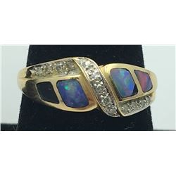 14K Y GOLD RING, OPAL INLAY, DIAMOND ACCENTS