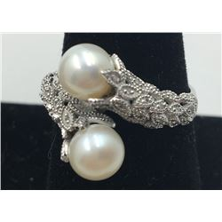 14K WHITE GOLD FILIGREE RING WITH CULTURED PEARLS