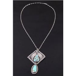 Navajo Sterling Silver Morenci Turquoise Necklace