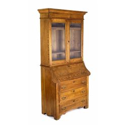Oak Drop Front Secretary Curio Display Cabinet