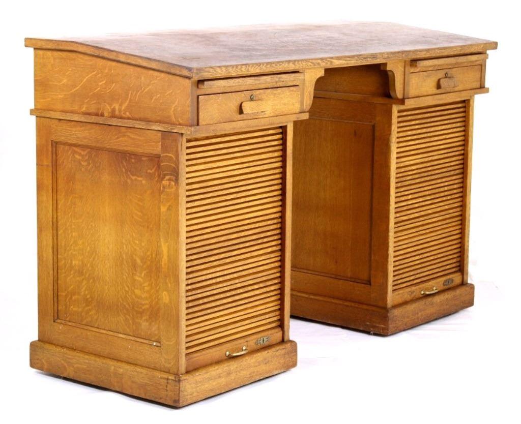 1933 Helena Mt Tiger Oak Roll Top Drafting Desk