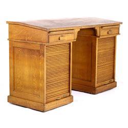 1933 Helena, Mt Tiger Oak Roll Top Drafting Desk