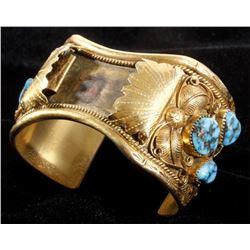 Navajo W. Haley 12K Gold & Turquoise Bracelet
