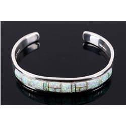 Navajo Fire Opal Inlaid Sterling Bracelet