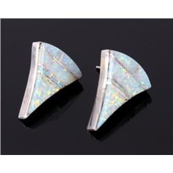 Navajo Fire Opal Inlaid Sterling Silver Earrings