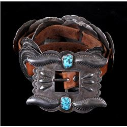 Navajo Sterling Silver & Turquoise Concho Belt