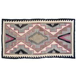 Navajo Two Gray Hills Hand-Woven Rug, early 1900's