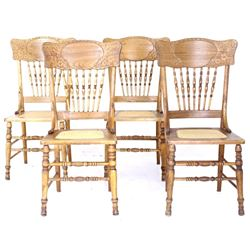 Four Floral Carved Oak Windsor Cane Webbing Chairs