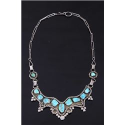 Silver & Sleeping Beauty Turquoise Festoon Choker