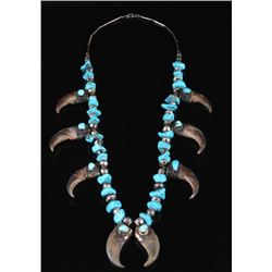 Navajo Blue Gem Turquoise & Bear Claw Necklace