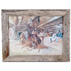 Joe Kipp's Trading Post, Framed C.M. Russell Print
