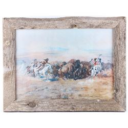 """Mandan Buffalo Hunt"" Charles Russell Framed Print"