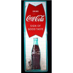 1950's Coca-Cola Vertical Metal Advertising Sign