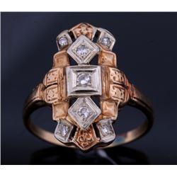 Classic Art Deco 1920's Diamond & 14k Gold Ring