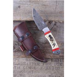M.T. Knives Buffalo Scrimshaw & Jasper Damascus