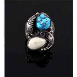 Signed Navajo Sterling Turquoise & Elk Ivory Ring