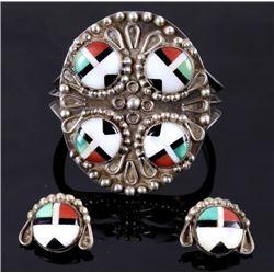 Signed AMR Multistone Mosaic Bracelet & Earrings