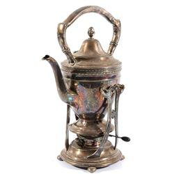 Monogrammed Gorham Tea Pot with Burner & Stand