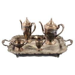 Gorham Monogrammed Silver Tea and Coffee Set