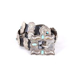 Navajo Sterling & Turquoise Concho Belt Signed