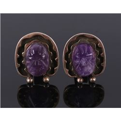 Taxco Sterling, Gold & Carved Amethyst Cuff Links