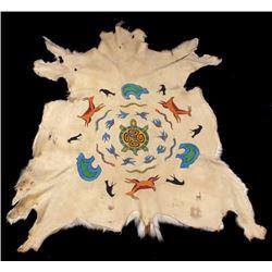 Hopi Polychrome Pinwheel Effigy Painted Deer Hide