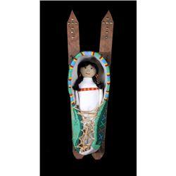 Kiowa Fully Beaded Cradleboard w/ Doll Mid-1900's