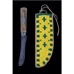 Blackfeet Beaded Sheath & Pewter Inlaid Knife