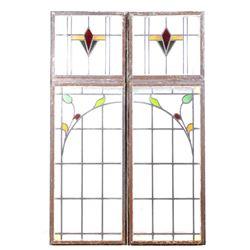 Vintage Art Nouveau Floral Stained Glass Windows