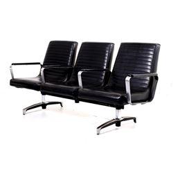Mid C. Modern Chrome Naugahyde Railroad Chairs
